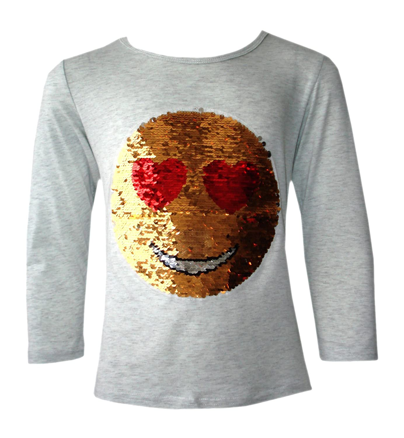 Girls Sequin Emoji 2 Way Brush Changing Sequins Smiley Faces Emoticons Heart Eyes to Wink 3-14 Yrs