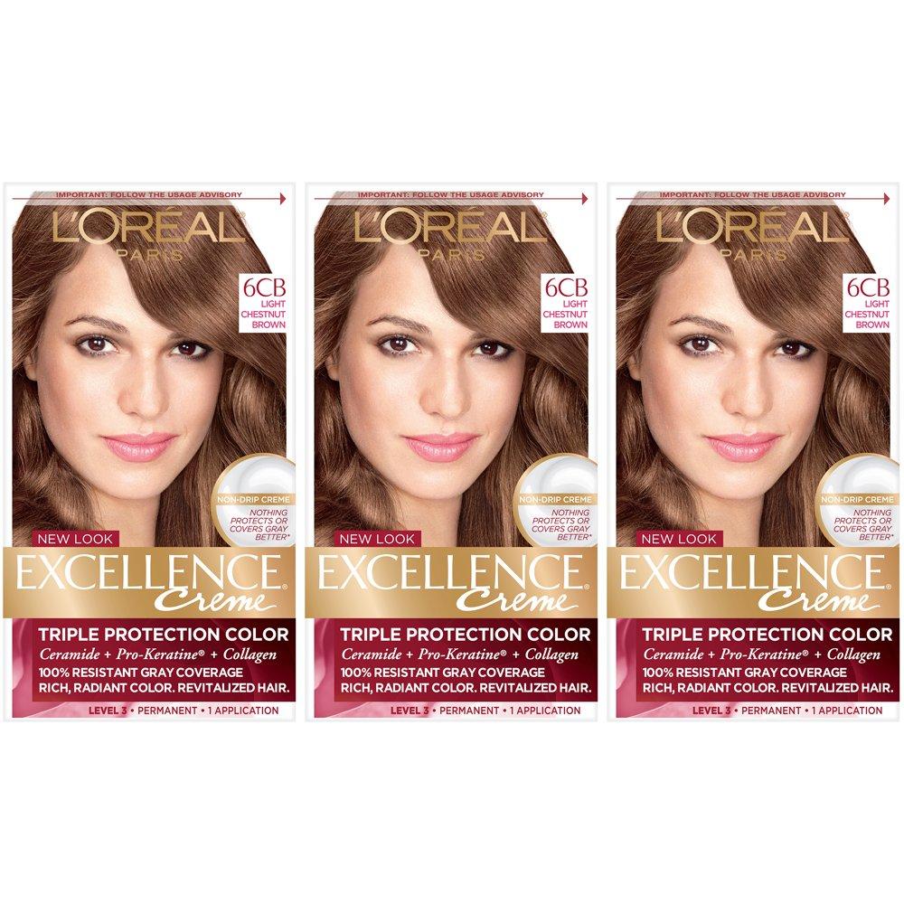 L'Oreal Paris Excellence Creme Permanent Hair Color, 6CB Light Chestnut Brown (Pack of 3) by L'Oreal Paris
