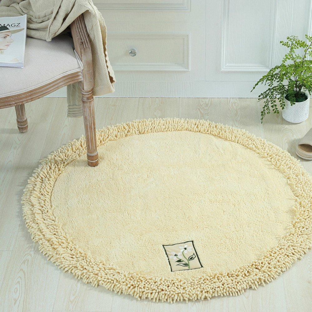 Sytian 100x100cm Fine Hand Embroidery Style Cotton & Chenille Design Non Slip Absorbent Shaggy Area Rug Bedroom Rug Soft Bath Mat Bathroom Shower Rug (Beige)