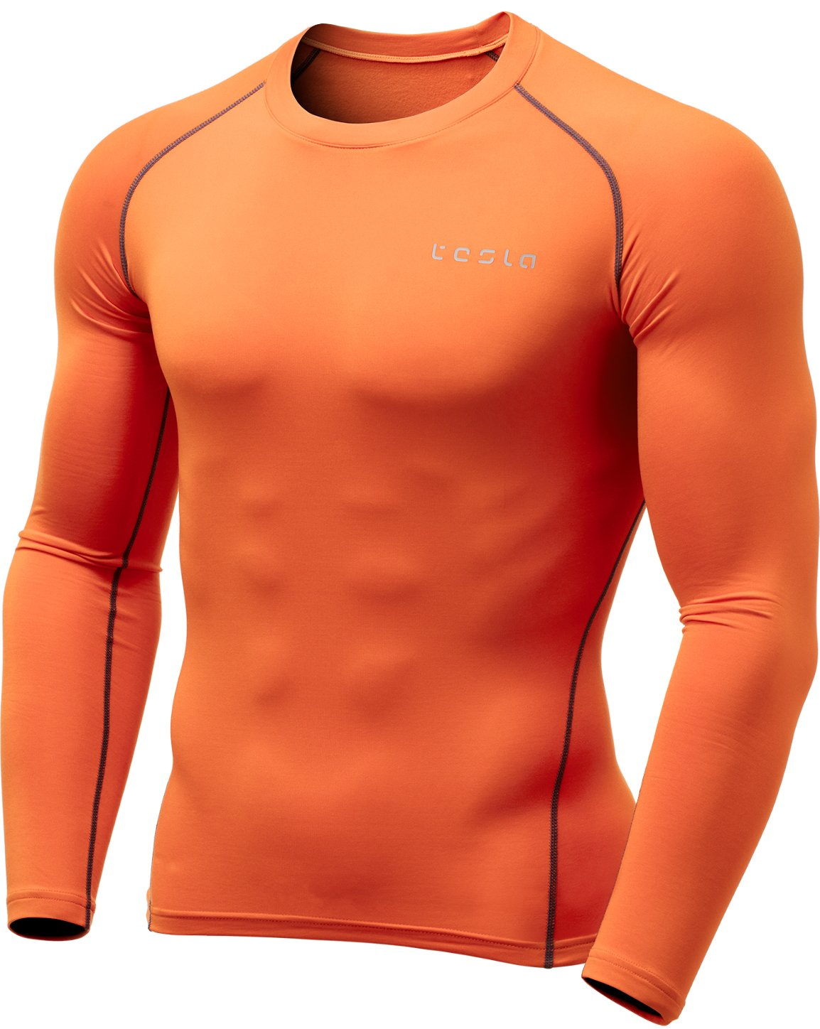 TSLA Men's Thermal Wintergear Compression Baselayer Long Sleeve Top, Thermal Athletic(yud34) - Orange, X-Large by TSLA