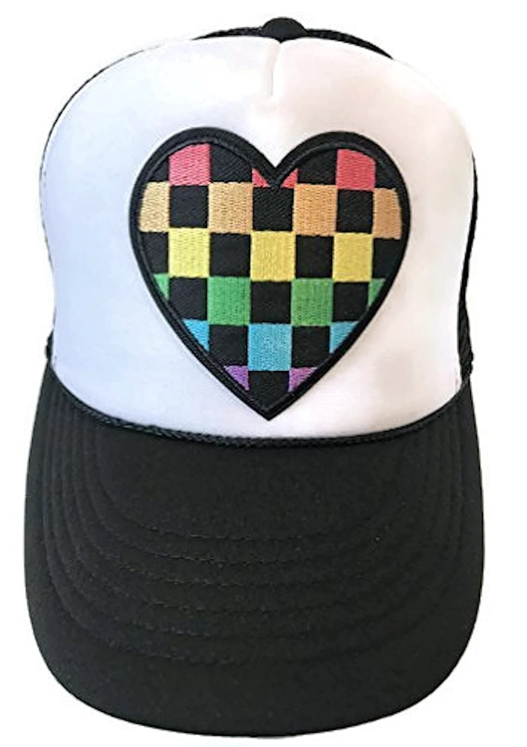 Lidsville Checkered Rainbow Womens or Girls Snapback Trucker Hat