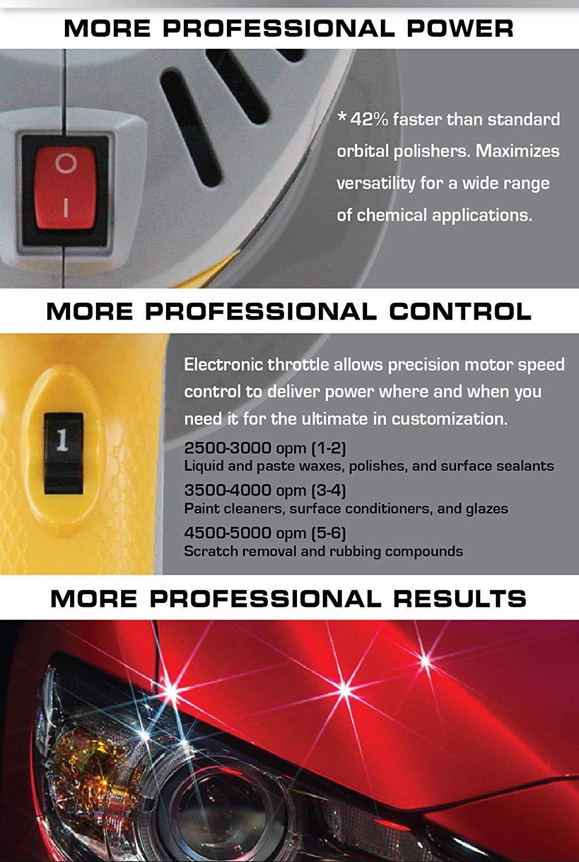 AutoSpa 94009AS Dual Speed 6'' Professional Polisher with 3 Bonus Bonnets by AutoSpa (Image #2)