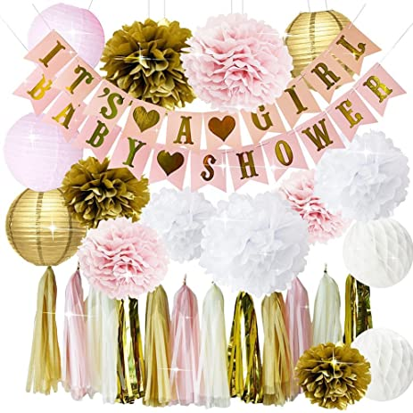Pink And Gold Baby Shower Decorations For Girl BABY SHOWER ITu0027S A GIRL  Garland Bunting Banner