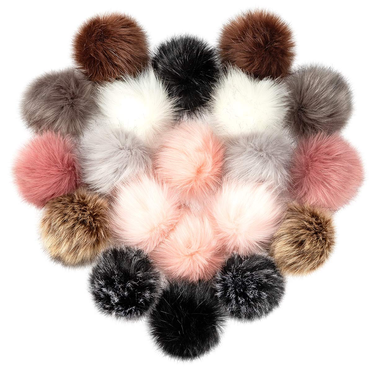 Cosweet 20pcs 4 Inch DIY Faux Fox Fur Fluffy Pompom Ball- Faux Fox Fur Pom Pom Balls with Elastic Loop Removable Knitting Hat Accessories for Hats Shoes Scarves Bags Keychains (10 Color-Dark) by Cosweet