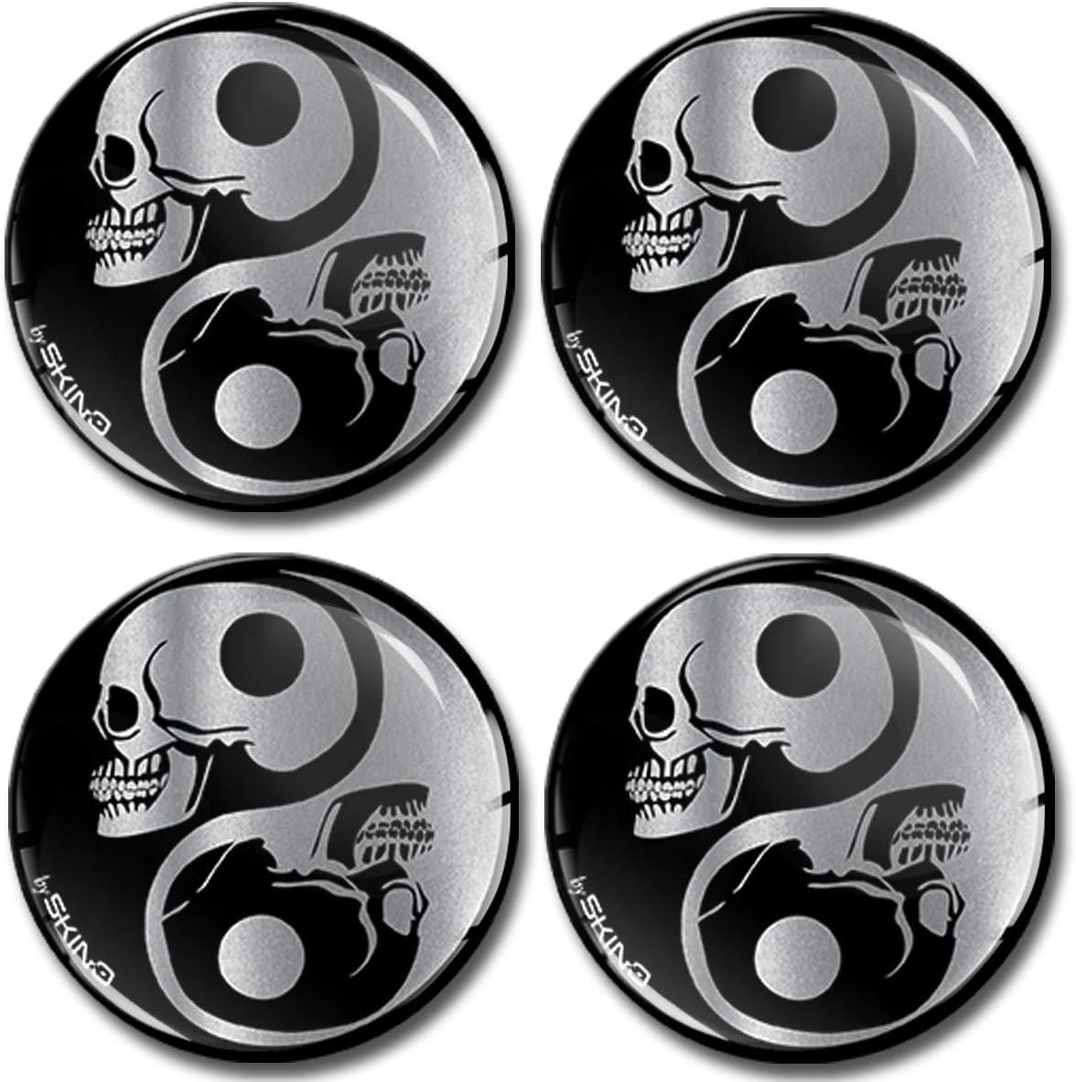 Skinoeu 4 X 55mm Aufkleber 3d Gel Silikon Stickers Symbol Yin Yang Silber Skulls Schädel Totenkopf Felgenaufkleber Für Radkappen Nabenkappen Radnabendeckel Nabendeckel Auto Tuning A 8255 Auto