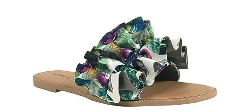 68a3db336e7d Qupid Desmond-3 Women s Ruched Ruffle Slip On Flats Slipper Slide Sandals