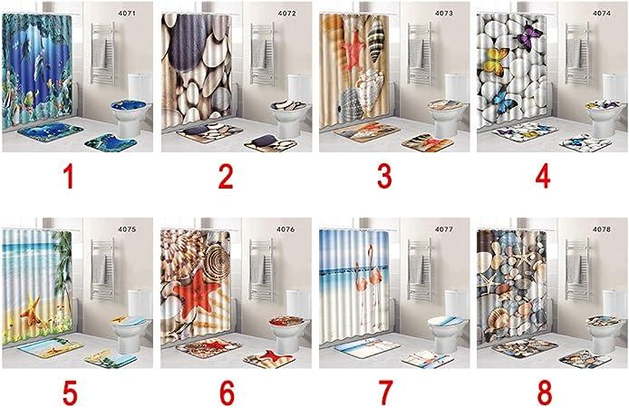 tapa de inodoro cortina de ducha alfombrilla de ba/ño Juego de 4 piezas de 7 tipos de alfombra de ba/ño antideslizante 45 x 75 cm 4078