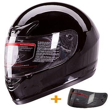 901-bk-pl brillo negro Full Face casco de moto, diseño de lunares
