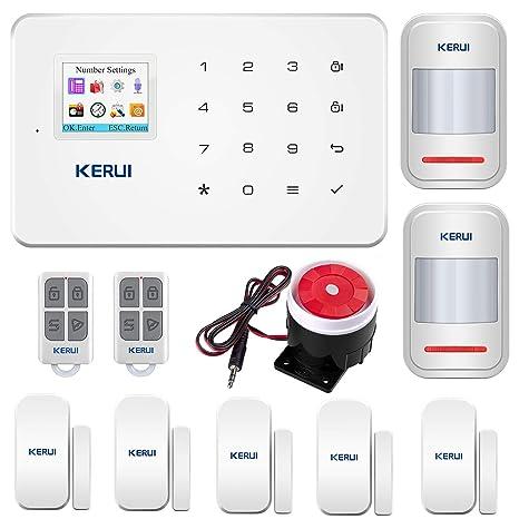 KERUI G18 Sistema de Alarma GSM Inalámbrico Control Remoto por CALL/SMS/APP - Kit Alarma Antirrobo Casa DIY con Sensor Puerta/Detector Movimiento ...
