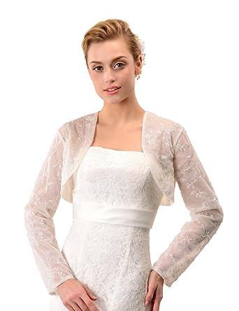 Topwedding Ivory Tulle Ivory Lace Shrug Wedding Bolero Bridal ...