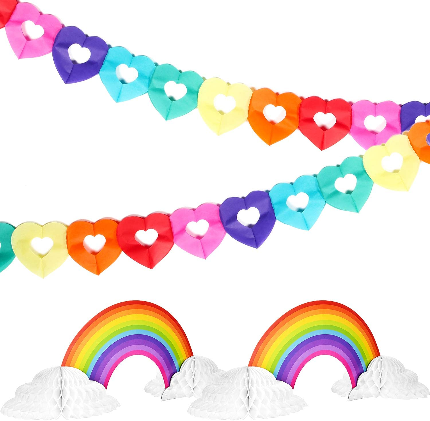 2 Pieces Rainbow Honeycomb Paper Centerpiece Rainbow Cloud Decoration and 2 Pieces Rainbow Heart Banner Rainbow Hanging Garland Heart Shaped for for Birthday Party Baby Shower Decoration