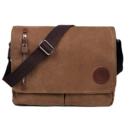LOSMILE Bolsa Bandolera de Tela de Lona para Hombre A Caqui,Unisex Vintage Canvas bolso de hombro para Messenger Bag para trabajo Uni Viaje Deporte. ...