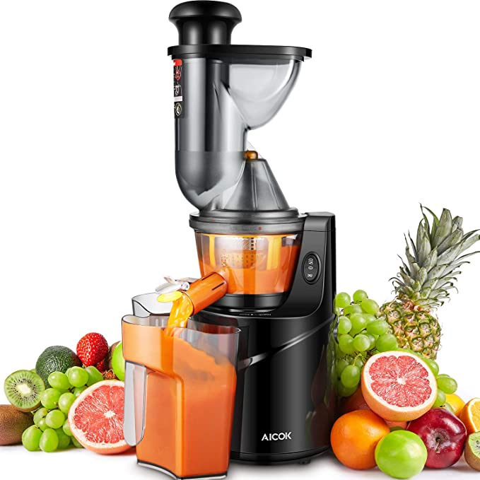 Juicer Masticating Slow Juicer, Aicok 3'' Whole Juicer Chute for Fruits and Vegetables, Quiet Motor & Reverse Function, Cold Press Juicer Machine Easy to Clean with Pre-Clean Function and Brush