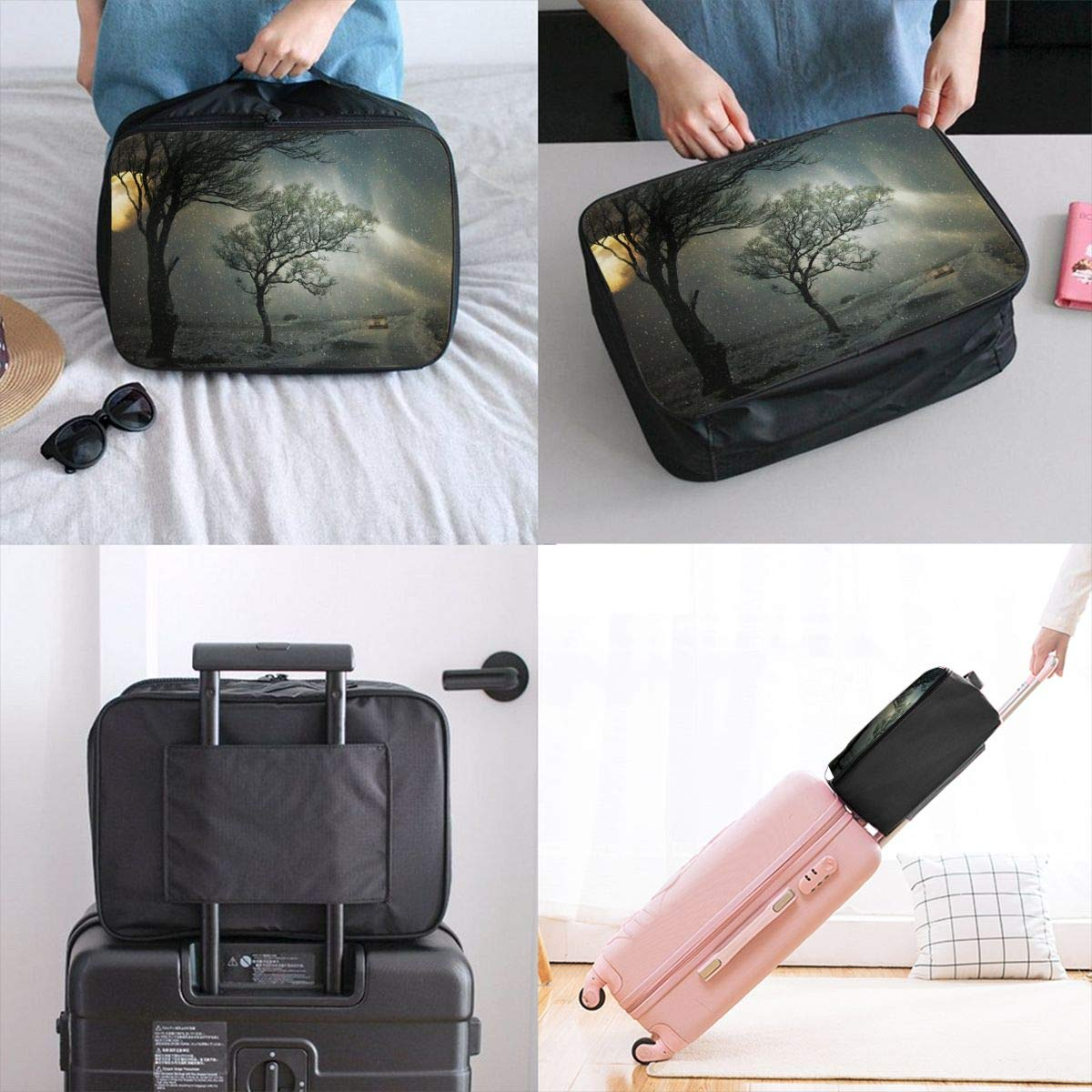 Winter Snowfall Road Travel Lightweight Waterproof Foldable Storage Carry Luggage Large Capacity Portable Luggage Bag Duffel Bag