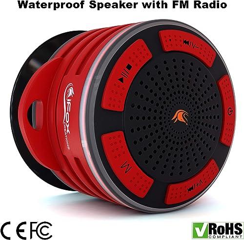 Waterproof Bluetooth Speaker Shower Radio Red Black