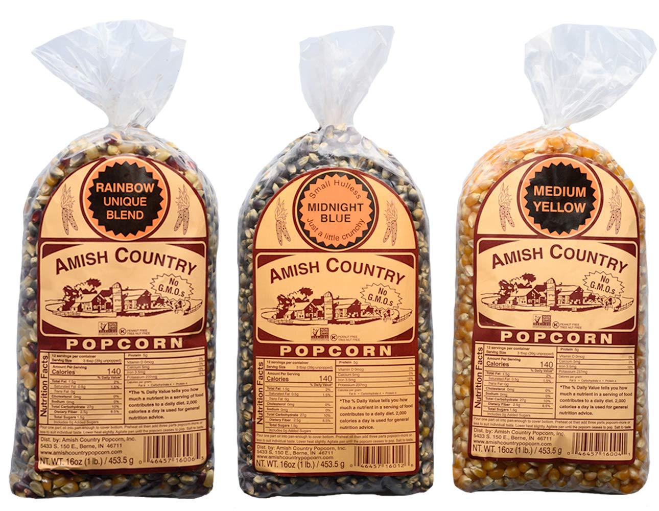 Amish Country Popcorn - 3 (1 lb. Bag Gift Set) Midnight Blue, Rainbow, and Medium Yellow Popcorn - Old Fashioned, Non GMO, and Gluten Free - Recipe Guide by Amish Country Popcorn