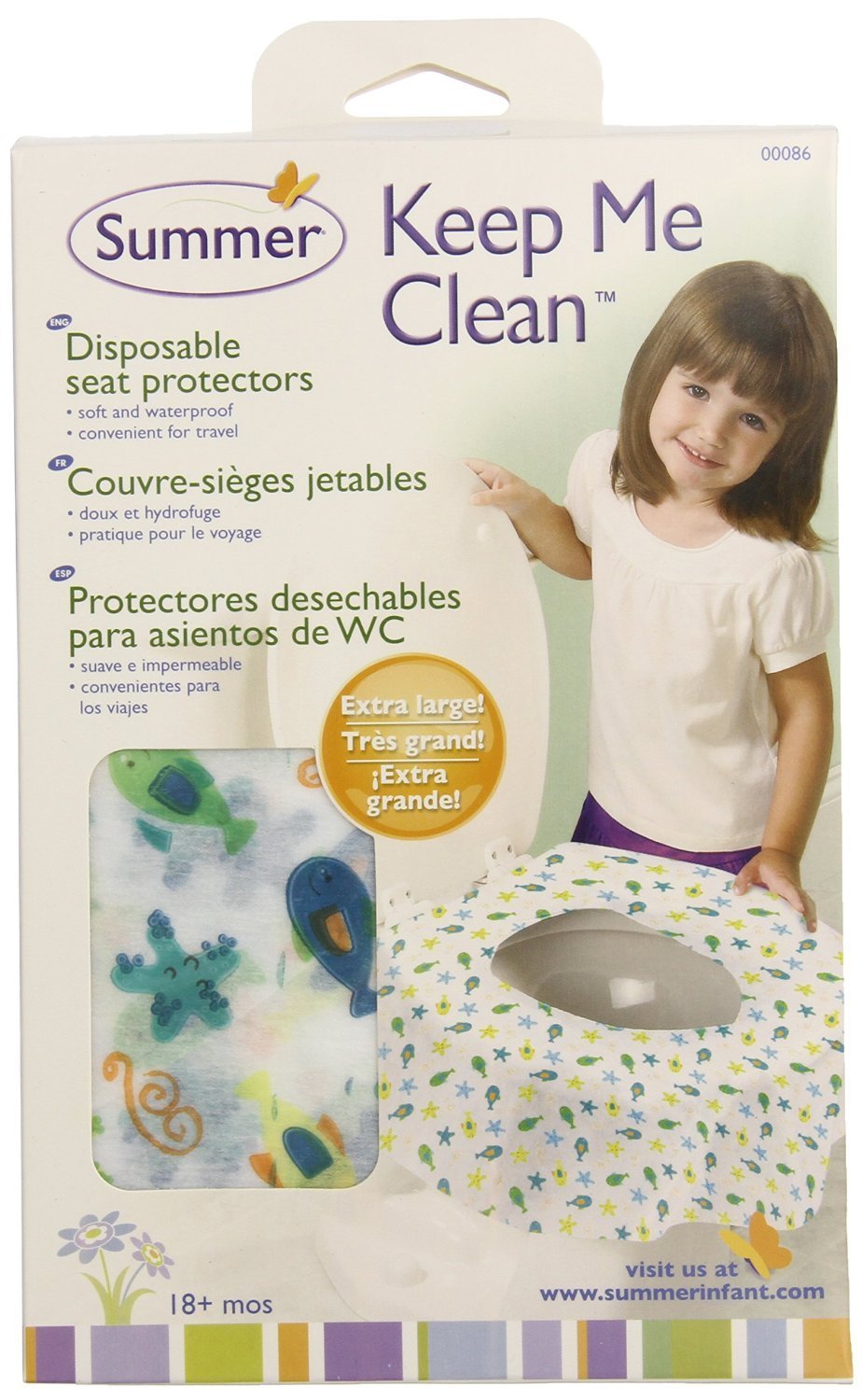 Summer Infant Keep Me Clean Disposable Potty Protectors, Green/White, 40-Count
