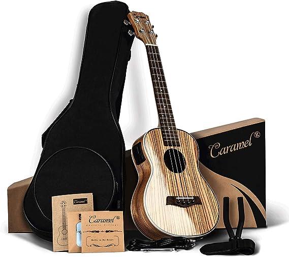 Caramel 26 inch CT103 Zebra Wood High Gloss Tenor Electric Ukulele Professional Ukelele Kit Beginner Guitar Starter Bundle Aquila Strings