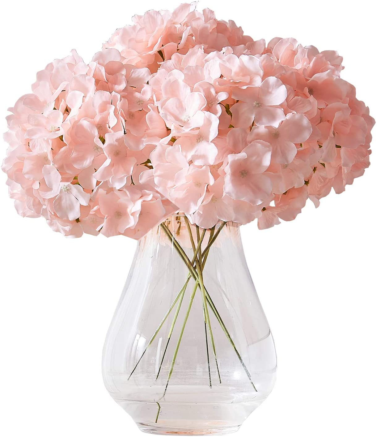 Kislohum Artificial Hydrangea Flowers Blush Heads 10 Fake Hydrangea Silk Flowers for Wedding Centerpieces Bouquets DIY Floral Decor Home Decoration with Stems