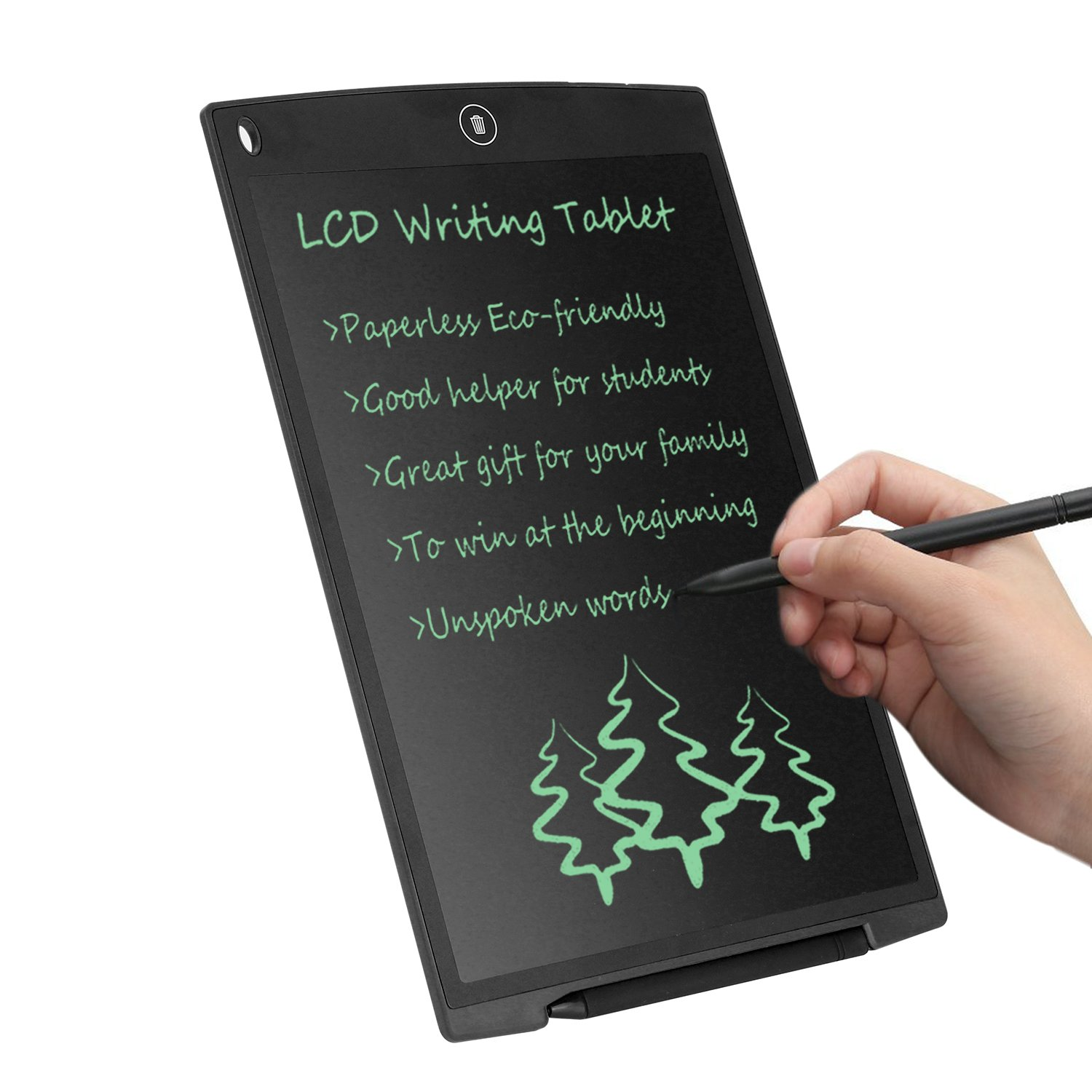 LCD Writing Tablet 12 Inch CHAOCHI Electronic Drawing Board Digital Doodle Pad with Erase Button, Gift for School Students Kids Present for Friends Birthday Office Speech Difficulties Take Note, Black