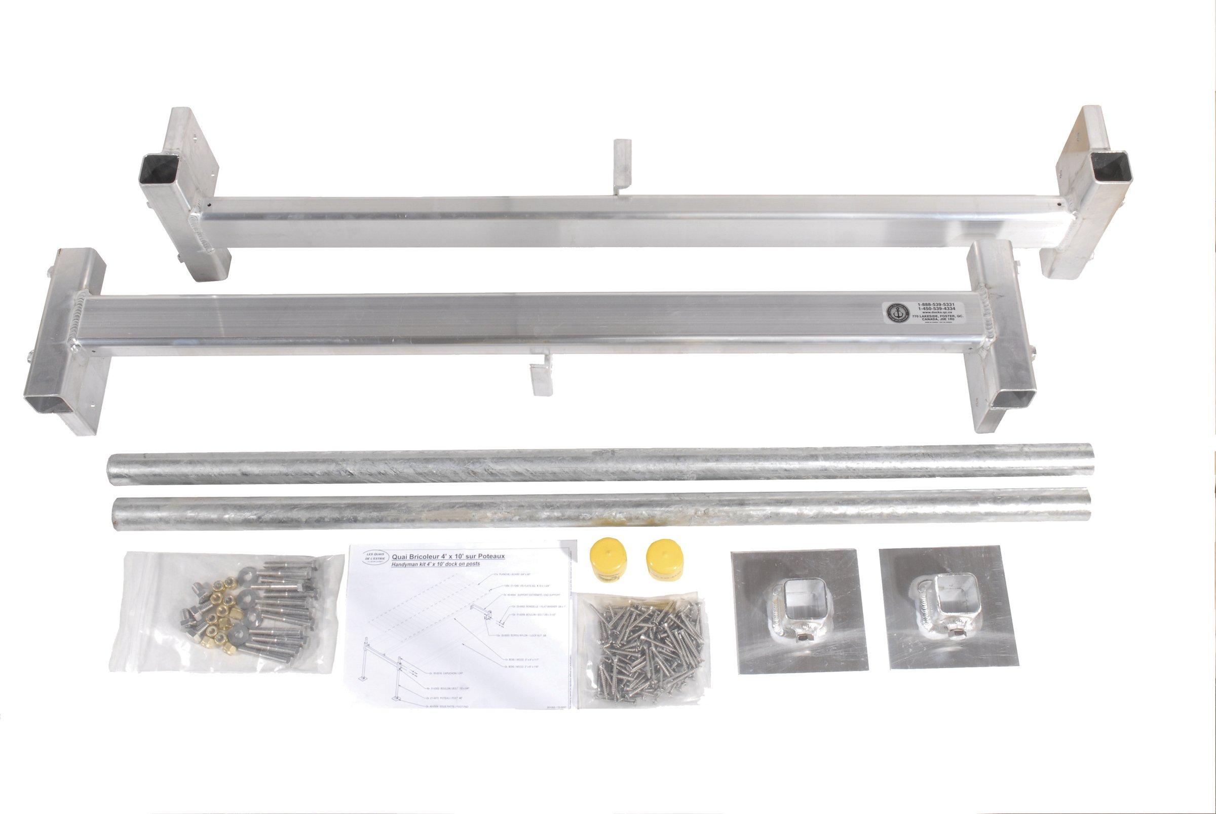 Dock Edge Aluminum Hybrid Floating and Stationary Dock Kit, 4x8-Feet