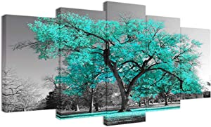 Visual Art Decor 5 Pieces Canvas Wall Art Teal Green Tree Landscape Black and White Picture Prints Painting Wall Decoration for Modern Bedroom Dining Room Decor Ready to Hang