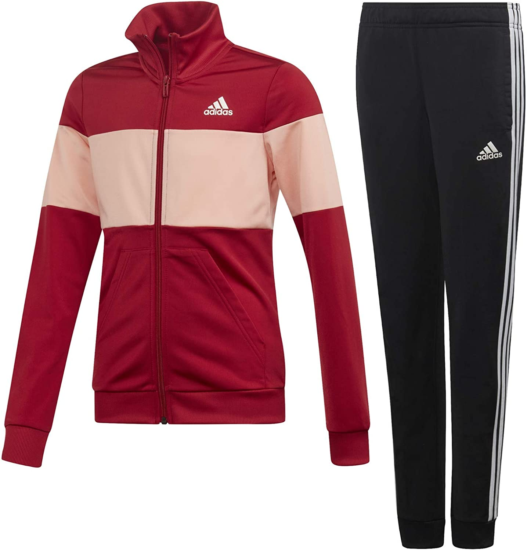 adidas Girls Track Suit Hooded Set Running Training School Fashion Sports
