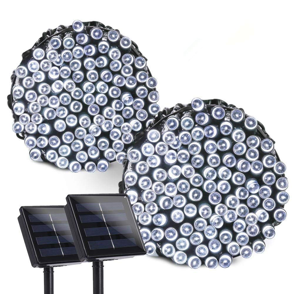 lederTEK 2 PACK Stringa di Luci a Energia Solare Impermeabile 22m 200 LED 8 Modi Lampada Decorativa (Bianco, 2 PACKS)