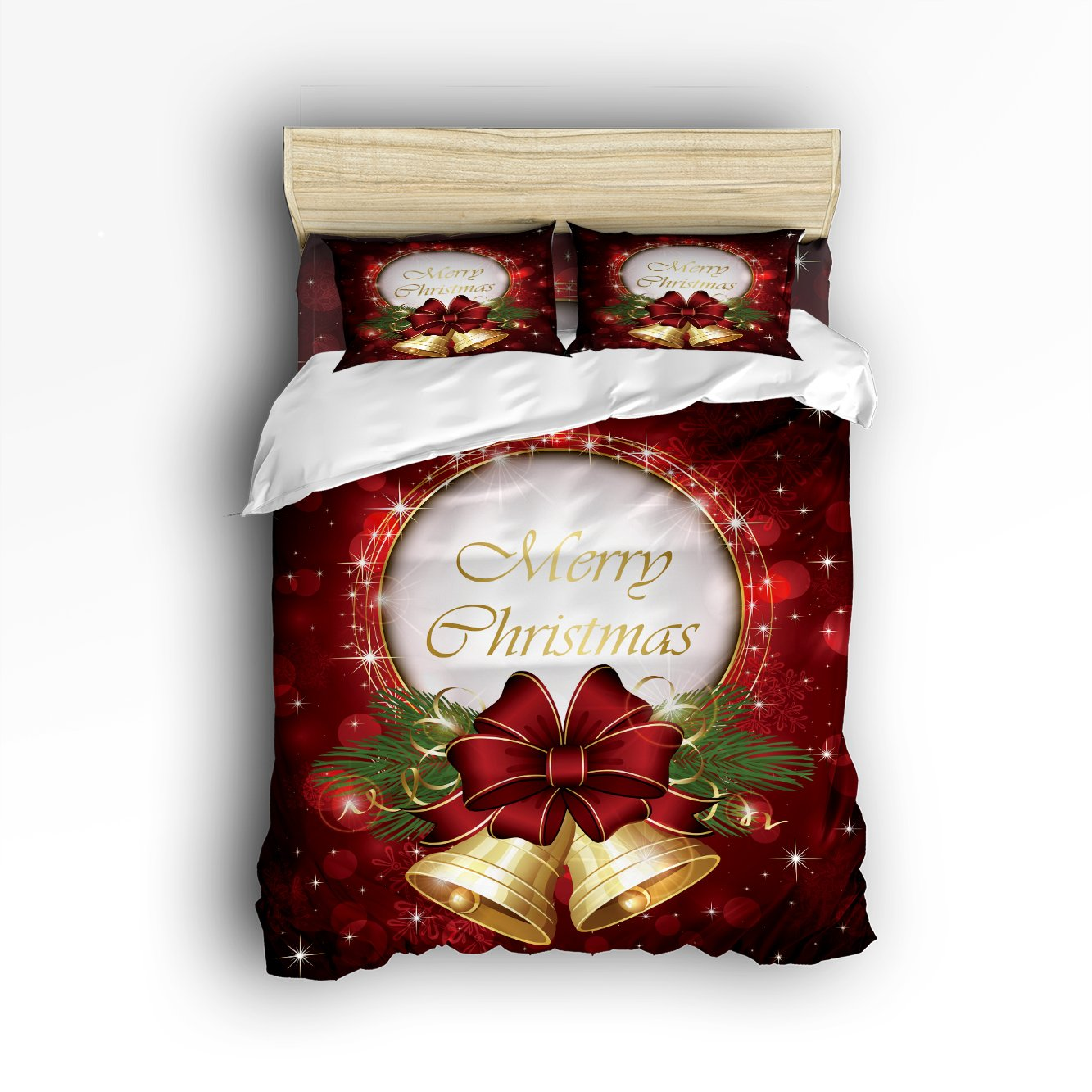 Family Decor Merry Christmas Print Home Comforter Cover Bedding Sets Duvet Cover Sets Bedspread for Adult Kids,Flat Sheet, Shams Set 4Pieces,4 Pcs Queen Size for Kids Teenage Teens