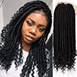 AISI BEAUTY 6Packs Crochet Locs Goddess Faux Locs Crochet Hair for Black Women Staright Crochet Faux Locs with Curly Ends 16