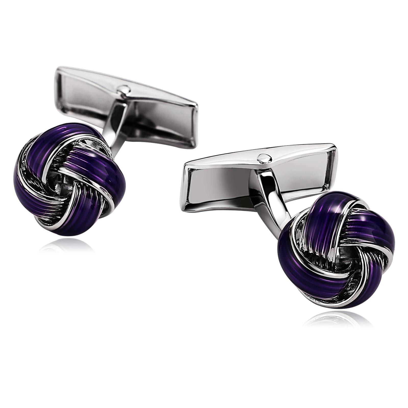 Aokarry Cufflinks-Men's Stainless Steel Love Knot Cuff Links Purple by Aokarry (Image #1)