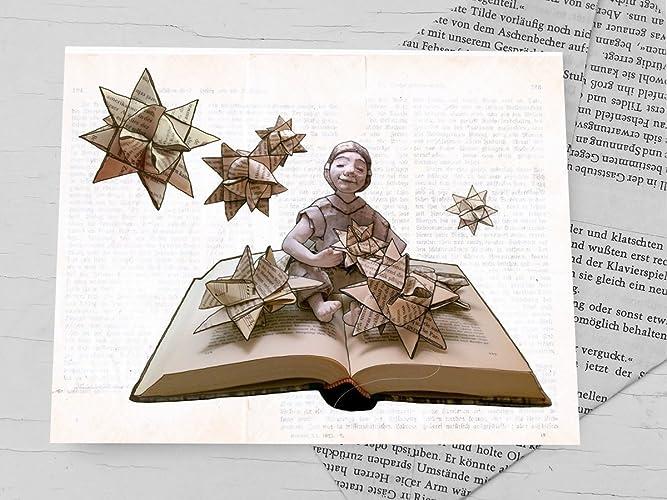 Weihnachtskarte, Klappkarte für Bücher liebende Leseratten ...
