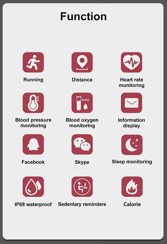 YYCOOL Braccialetto M4 Smart Pressione sanguigna//cardiofrequenzimetro//contapassi