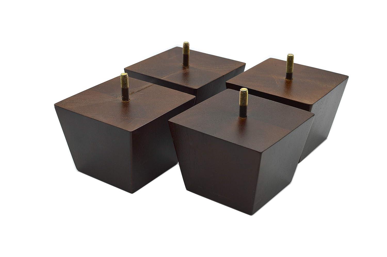Amazon.com: Patas de madera cuadradas con acabado cónico ...