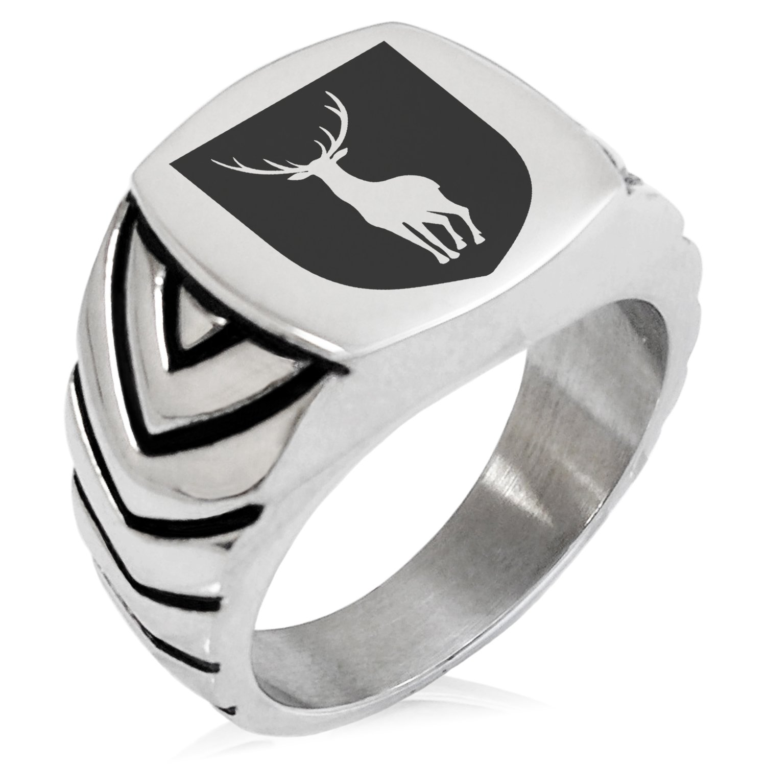 Two-Tone Stainless Steel Stag Purity Coat of Arms Shield Engraved Chevron Pattern Biker Style Polished Ring, Size 11