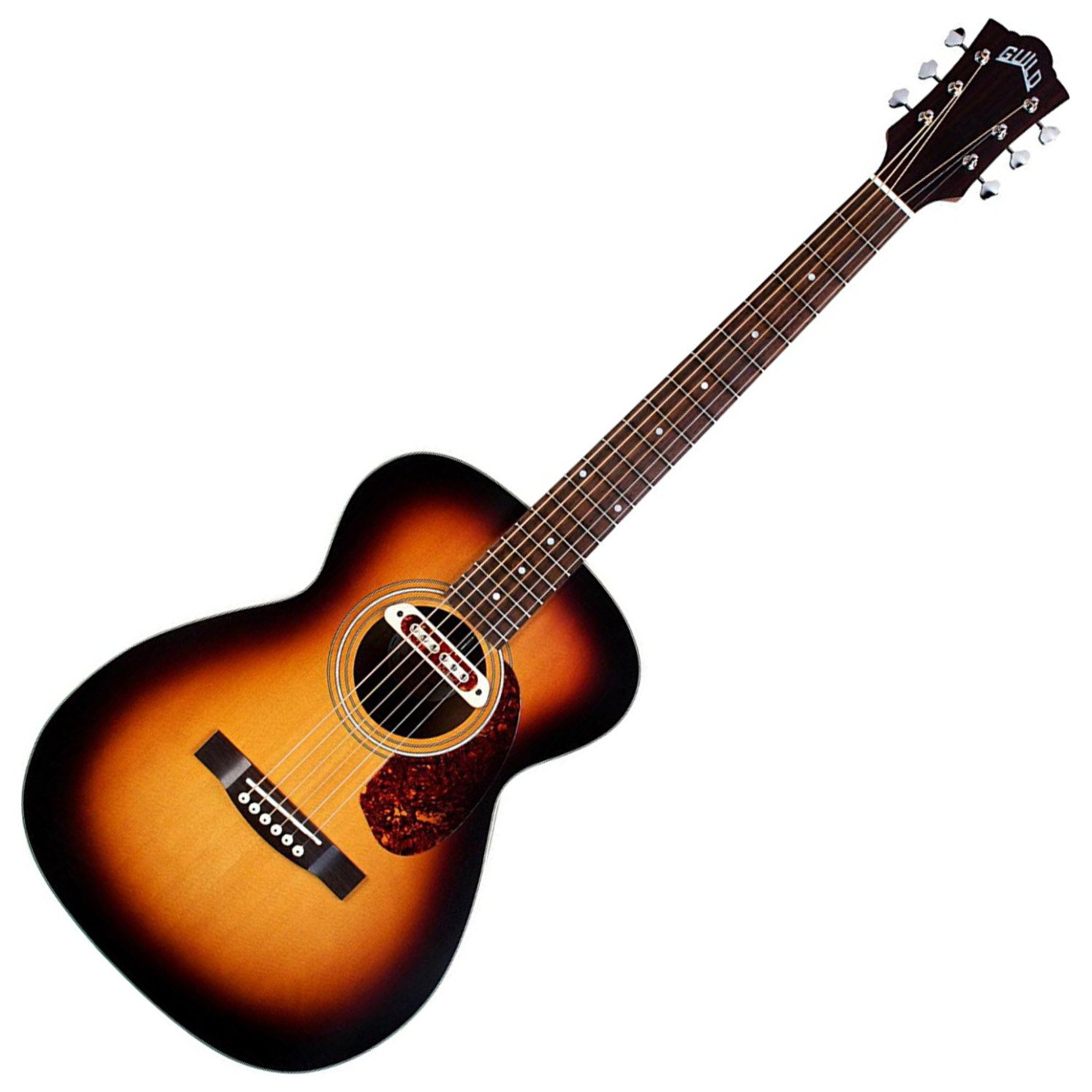 Guild Guitars 6 String Guild M-240E Troubadour Acoustic Electric Guitar with Bag (Vintage Sunburst) (VSB W/B by Guild Guitars