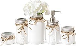 Mkono Mason Jar Bathroom Accessories Set Painted MasonJars Bathroom Organizer Include Liquid Soap Dispenser, Cotton Swab,Tissue,Toothbrush Holder,Rustic Country Countertop Fall Decor 5 Piece, White