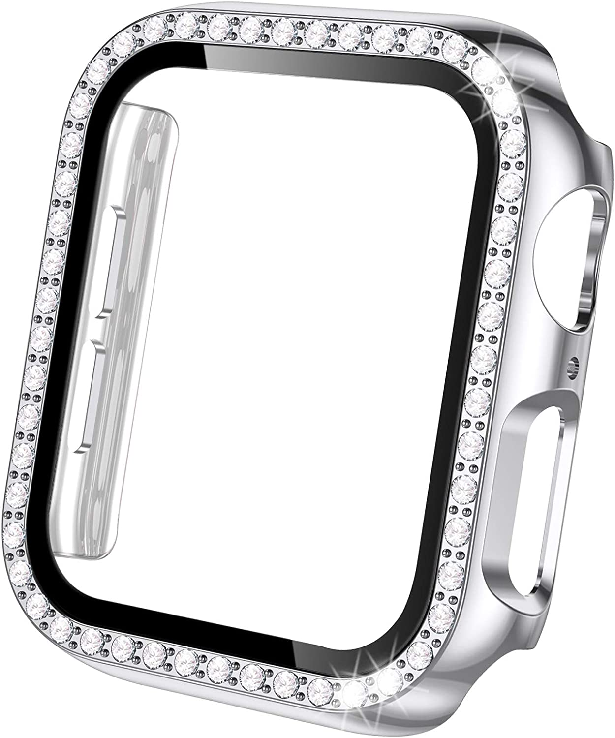 Akkerds Cases Compatible with Apple Watch 38mm, Bling Crystal Shiny Diamonds PC Bumper & HD Tempered Glass Screen Protector Overall Protective Compatible for iWatch Series 3 2, Women Girls, Silver