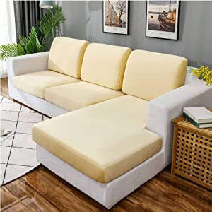 MOSU Velvet Stretch Couch Cushion Cover Sofa Slipcover for L-Shaped Sofa Chaise Longue, 1 2 3 Cushion Couch Sofa Cover Soft Furniture Protector-Beige-Loveseat (2 PCS)
