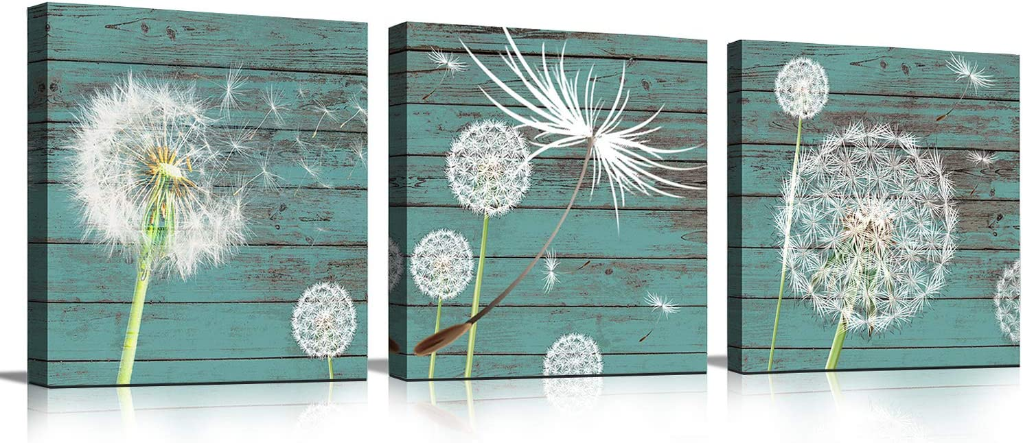 Wall Art Abstract White Dandelion Green Driftwood Wall Decor for Bathroom Bedroom Kitchen Modern Canvas Prints Artwork 12x12inch 3 pieces Easy to Hang