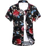 c792ab7034e21 YuanDian Men Summer Casual Retro Floral Printed Beach Shirts Plus Size Slim  Fit Short Sleeve Hawaiian Tropical Aloha…