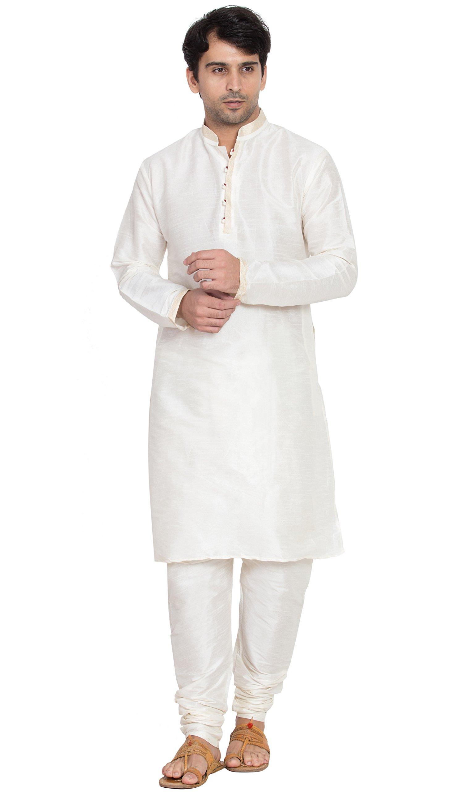 Long Sleeve Shirt Mens Kurta Pajamas Set Handmade Traditional Indian Costume Offwhite -M