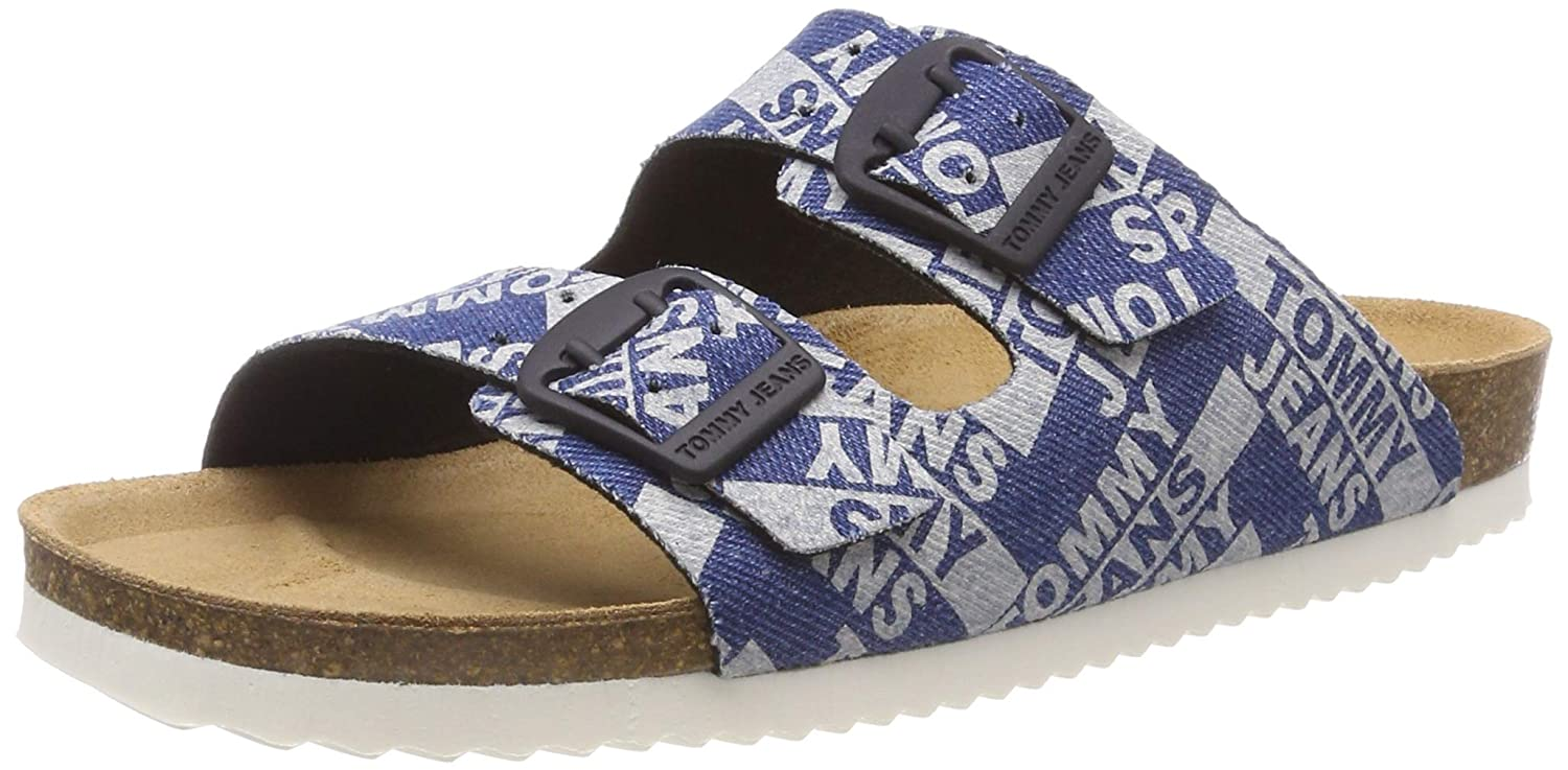Tommy Jeans Allover Denim Print Flat Sandal Chanclas para Mujer