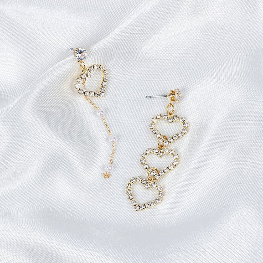 YAZILIND Irregular Rhinestone Heart Imitation Pearl Link Pendant Drop Dangle Pierced Earrings