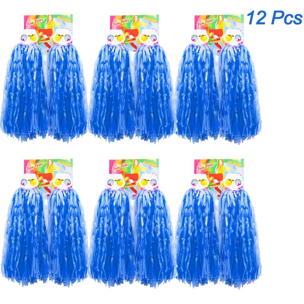 Creatiees 1 Dutzend Prä mie Cheerleading Pom Poms, 12 Stü cke Kunststoff Cheerleader Pompons Handblumen mit Ring Design zum Sport Cheers Ball Dance Kostü m Nacht Party Team Spirit