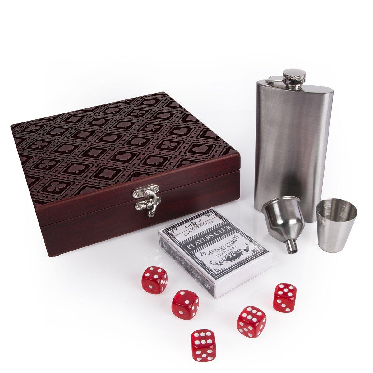 大人気新品 ラスベガスフラスコセットボックスwith Playingカード&カジノスタイルRolling Dices | Gamblerスタイル# t6 t6 1 B07DXCRXJJ マルチ Dices B07DXCRXJJ, 益田製茶:5ecc6531 --- a0267596.xsph.ru