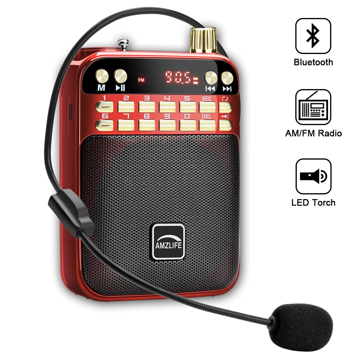 AMZLIFE Personal AM FM Portable Radio Bluetooth Speaker & TF Card Player Outdoor Wireless Speaker MP3 Player Built-in Microphone LED Light ...