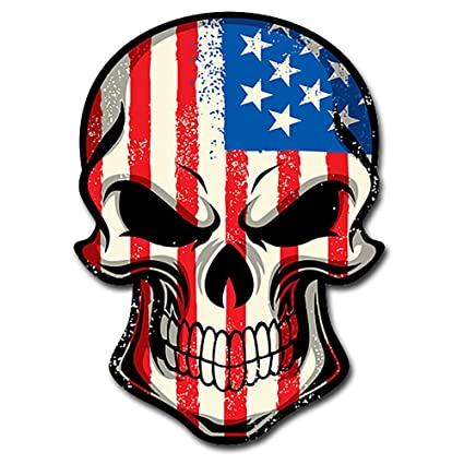 4d867419e38f itsaskin1 American Flag Skull Head Military Sticker Decal ヨ Badass America  Murica Merica LARGE 8 quot