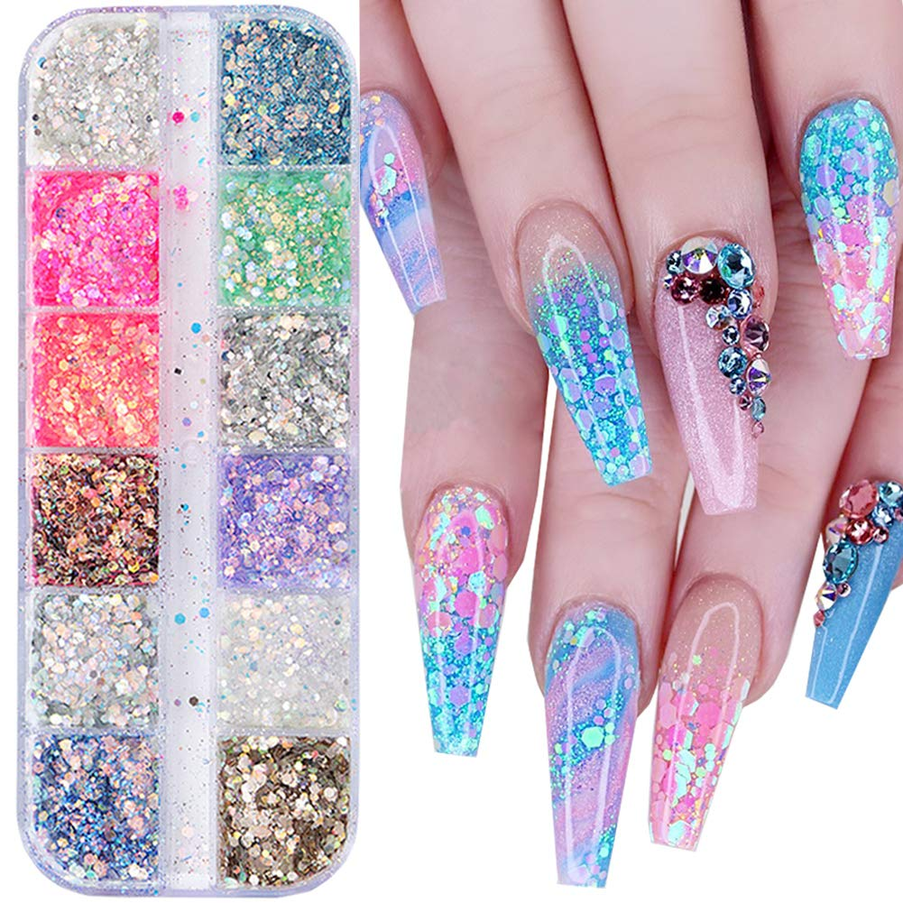 Holographic Nail Glitter Sequins Nail Art Accessories Mixed Colorful 3D Nail Glitter Flakes for Nails Decoration Shiny Nail Sparkle Glitter Designs Mermaid Manicure Tips Charms (12 Colors): Beauty