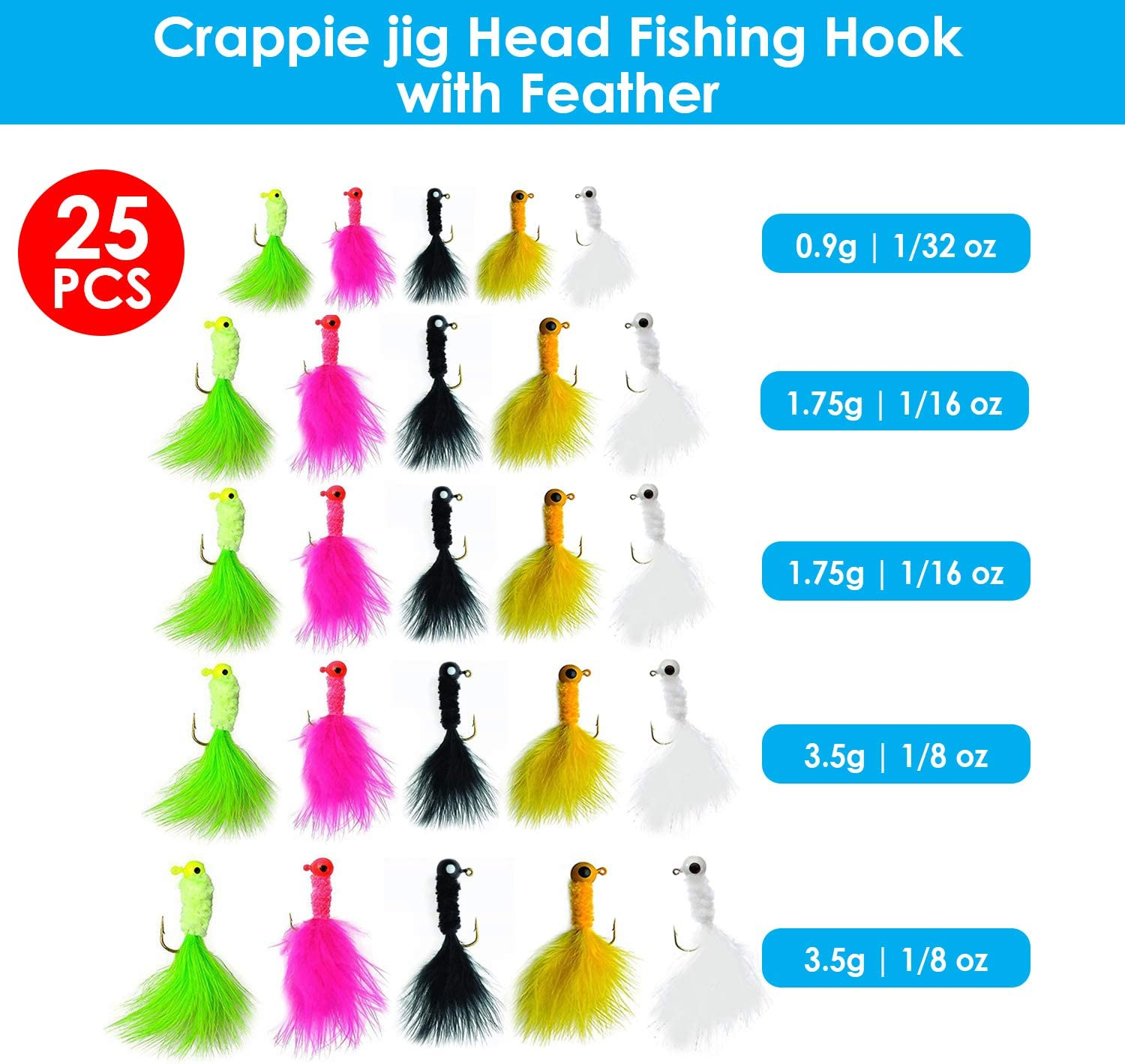 25 Piece Crappie jig Head Fishing Hook with Feather Fly Fishing jig Hooks
